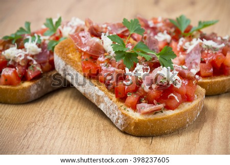 Toast appetizer in Spain - stock photo