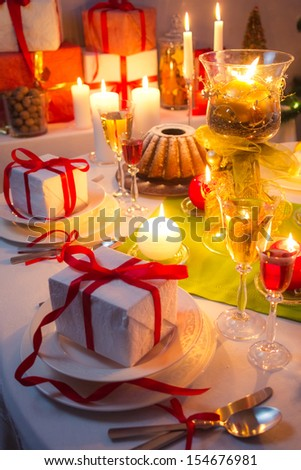 Toast at Christmas table - stock photo