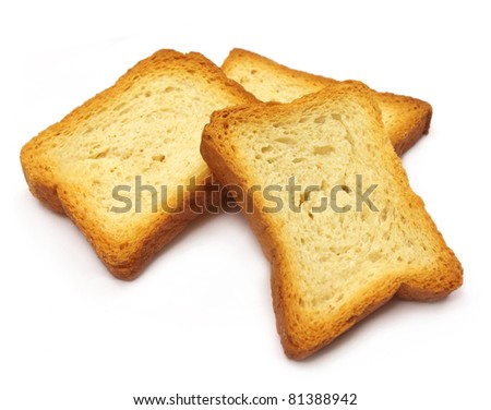 Toast biscuits over white background - stock photo