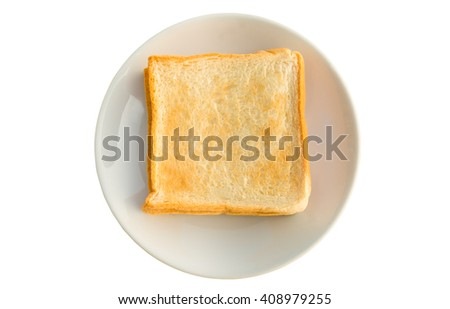 Toast bread in white plate, Isolated on white background, top view - stock photo