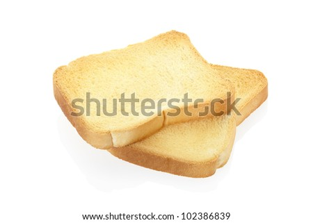 Toast bread isolated on white, clipping path included - stock photo