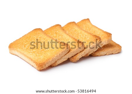 toast bread on white background