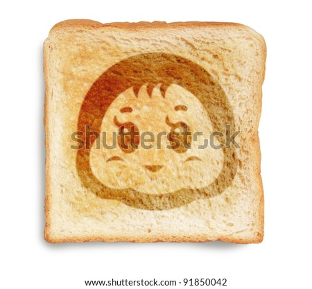 toast bread with baby infant picture burn mark isolated on white background