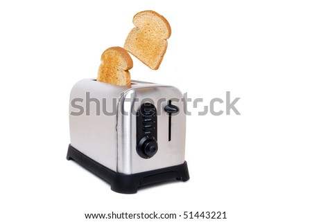 toast in a toaster - stock photo