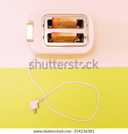 Toast in the toaster. Minimal fashion Style - stock photo