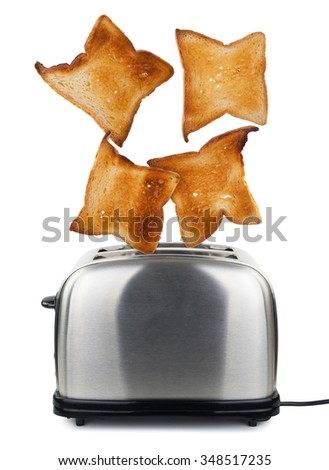 Toast popping out of a toaster - stock photo