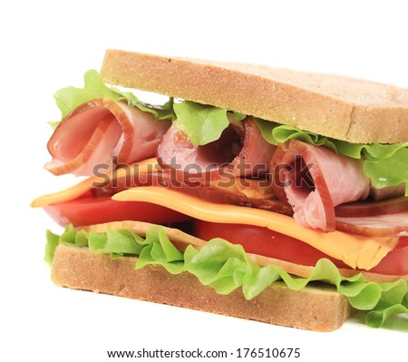 Toast sandwich with ham. Isolated on a white background.