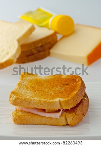 Toast stuffed over a white plate, with bread, mayonese and cheese on the back - stock photo