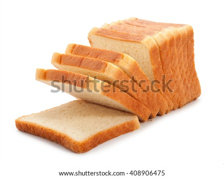 toast wheat bread sliced isolated on white background. - stock photo