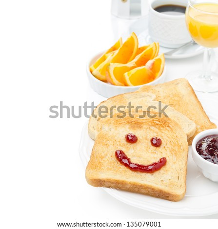 Toast with a smile of jam, coffee, orange juice and fresh oranges for breakfast, isolated on white background