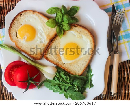 toast with egg, herbs and fresh vegetables