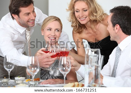 Toast with friends - stock photo