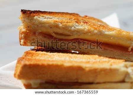 Toast with ham and cheese, close up  - stock photo