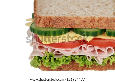 Toast with ham, cheese, tomatoes, lettuce and cucumber