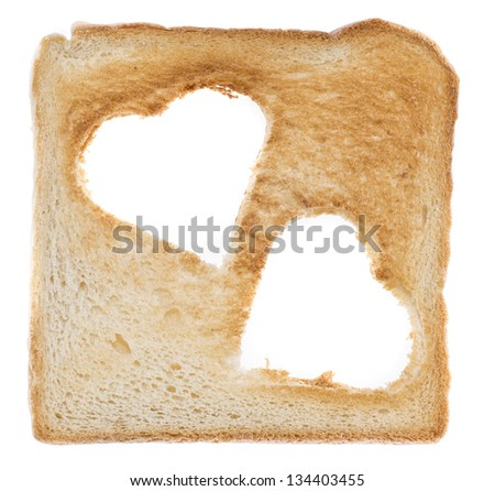 Toast with Hearts isolated on white background