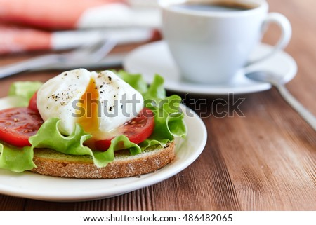 toast with poached egg, tomatoes and salad leave