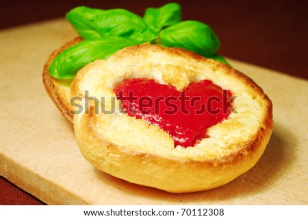 Toast with red heart for only one - stock photo