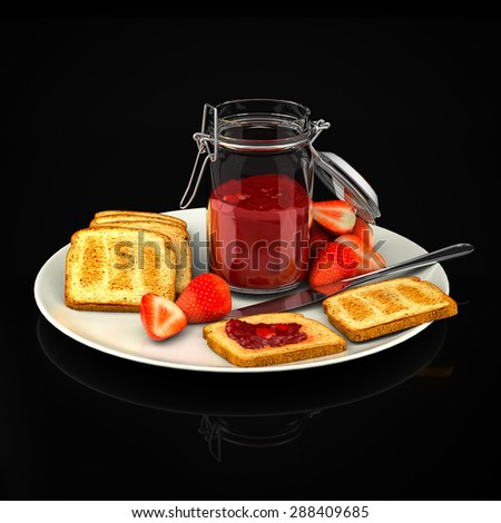 Toast with strawberry jam on a black background - stock photo