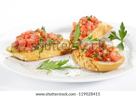 toast with tomato on a plate