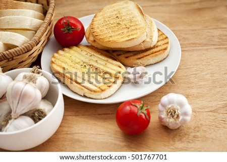 toasted bread and fresh vegetables