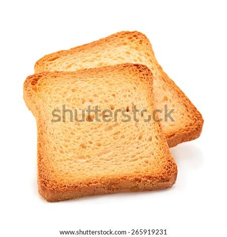 Toasted bread slice isolated on white background - stock photo