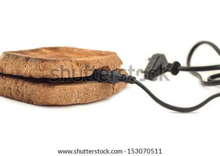 toasted bread with cable on white background
