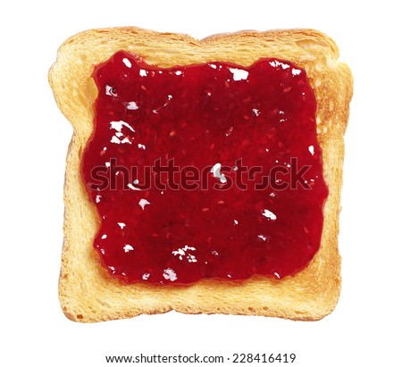 Toasted bread with jam isolated on white background - stock photo