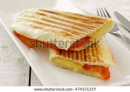 toasted cheese and tomato panini lunch
