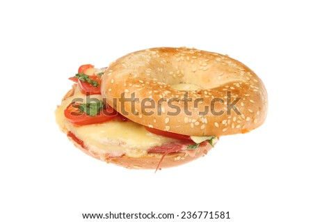 Toasted cheese, ham, tomato and basil bagel isolated against white
