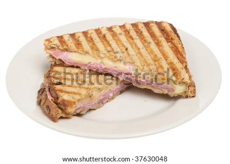 Toasted ham & cheese panini - stock photo