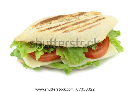 Toasted Italian bread with cheese, lettuce and tomato sandwich