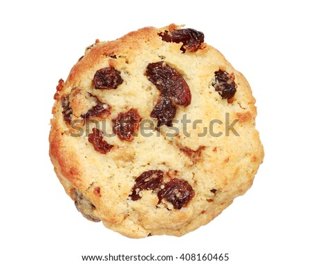 toasted raisin scone isolated on white background
