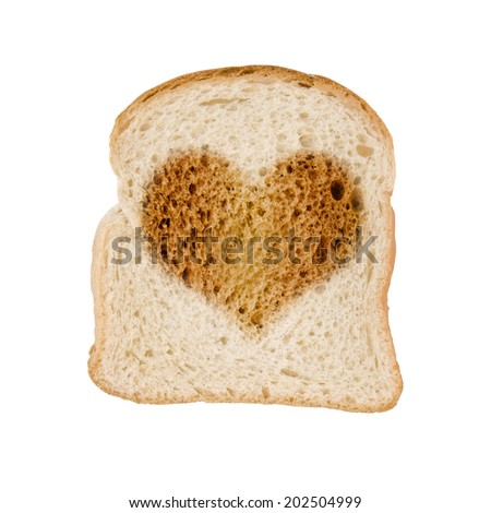 Toasted slice of bread heart, , isolated on white background