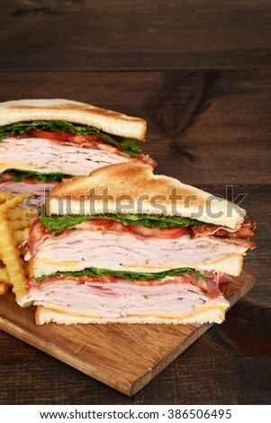 toasted turkey club sandwich - stock photo