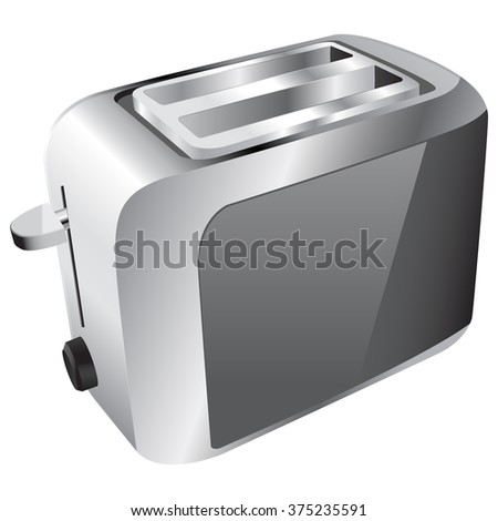 Toaster . Brushed metal texture . Raster version. Illustration isolated on white background.