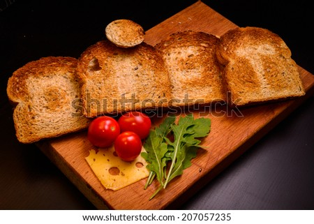 Toaster dietary(Dietary tosterny roasted bread with vegetables and cheese) - stock photo