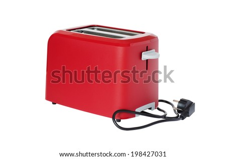 Toaster of red colour, isolated on a white background - stock photo