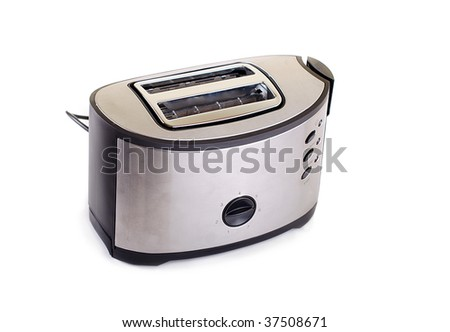 Toaster which is isolated on white - stock photo