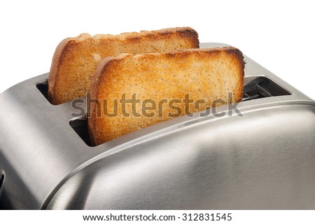 Toaster with bread - stock photo
