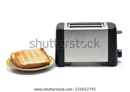Toaster with bread on white background