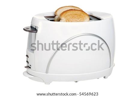 toaster with toast - stock photo