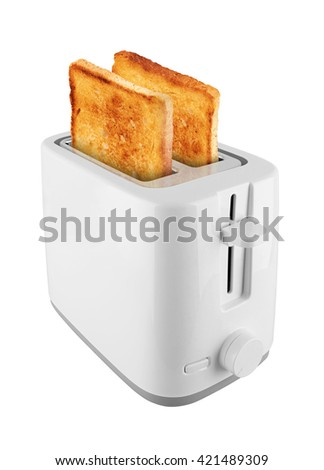 Toaster with toast, isolated on white background - stock photo