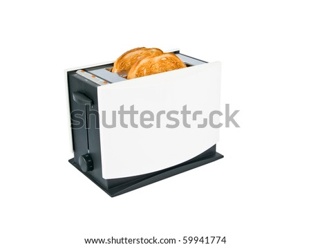 Toaster with toasts inside isolated on white - stock photo