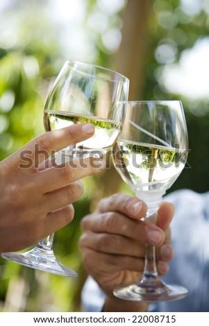 toasting in the garden - stock photo
