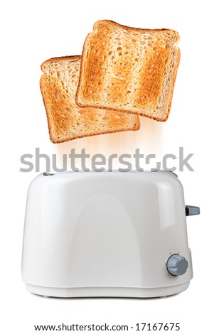 Toasts flying out of toaster - stock photo