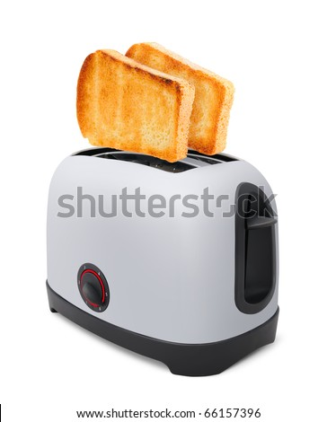 Toasts flying out of toaster isolated on withe background - stock photo