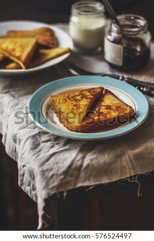 toasts in a dish on the table, breakfast