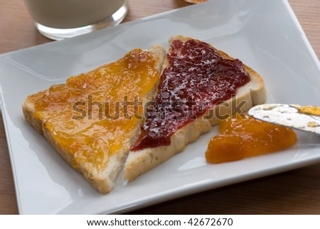 Toasts with jam and marmelade