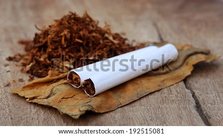Tobacco and cigarette on wooden surface - stock photo