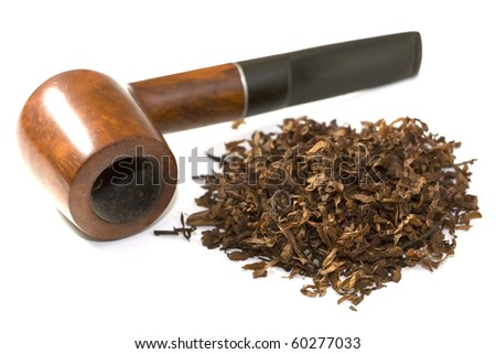 tobacco and pipe over white background - stock photo